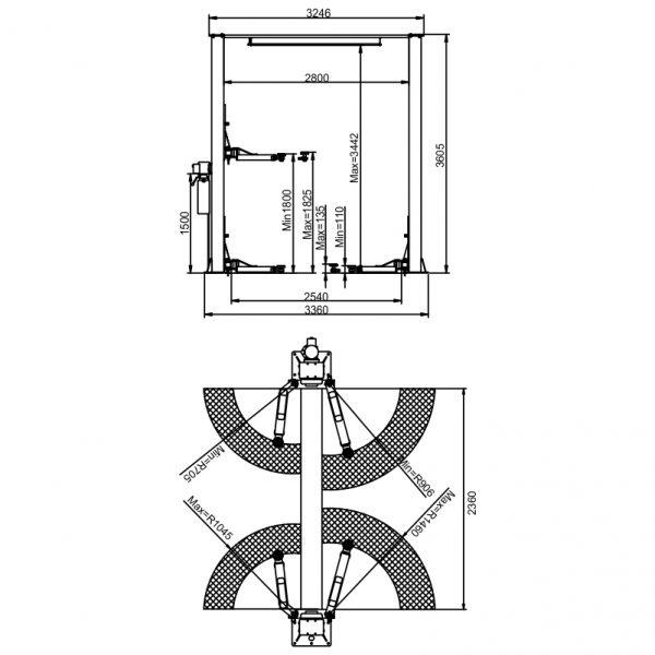 APO-40CBS Overhead 8,000 lb Capacity 2 Post Lift