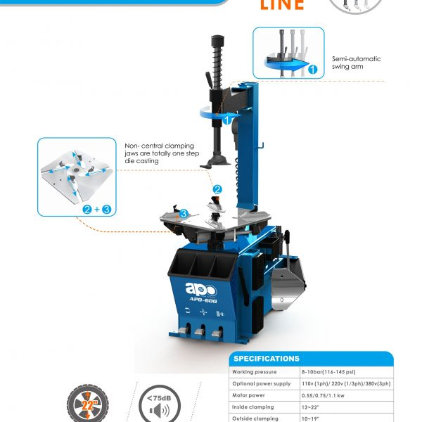 APO-600 Semi-Automatic Swing Arm Tire Changer